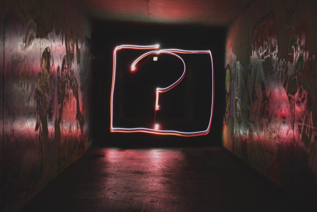 Neon light question mark