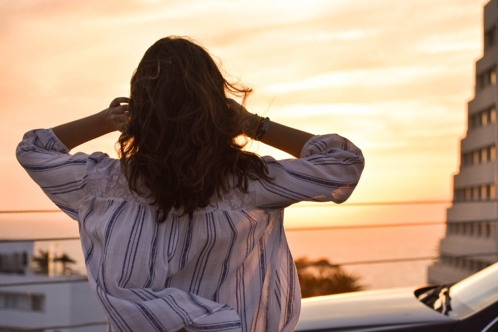 woman sunset - decision maker