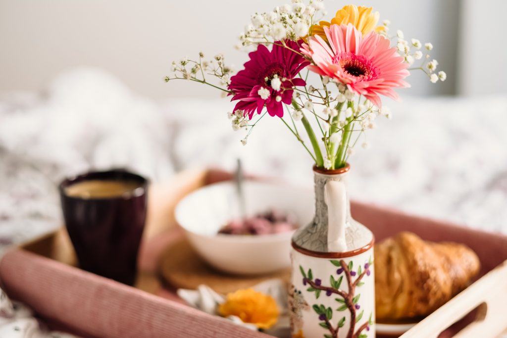 morning breakfast tray - good morning