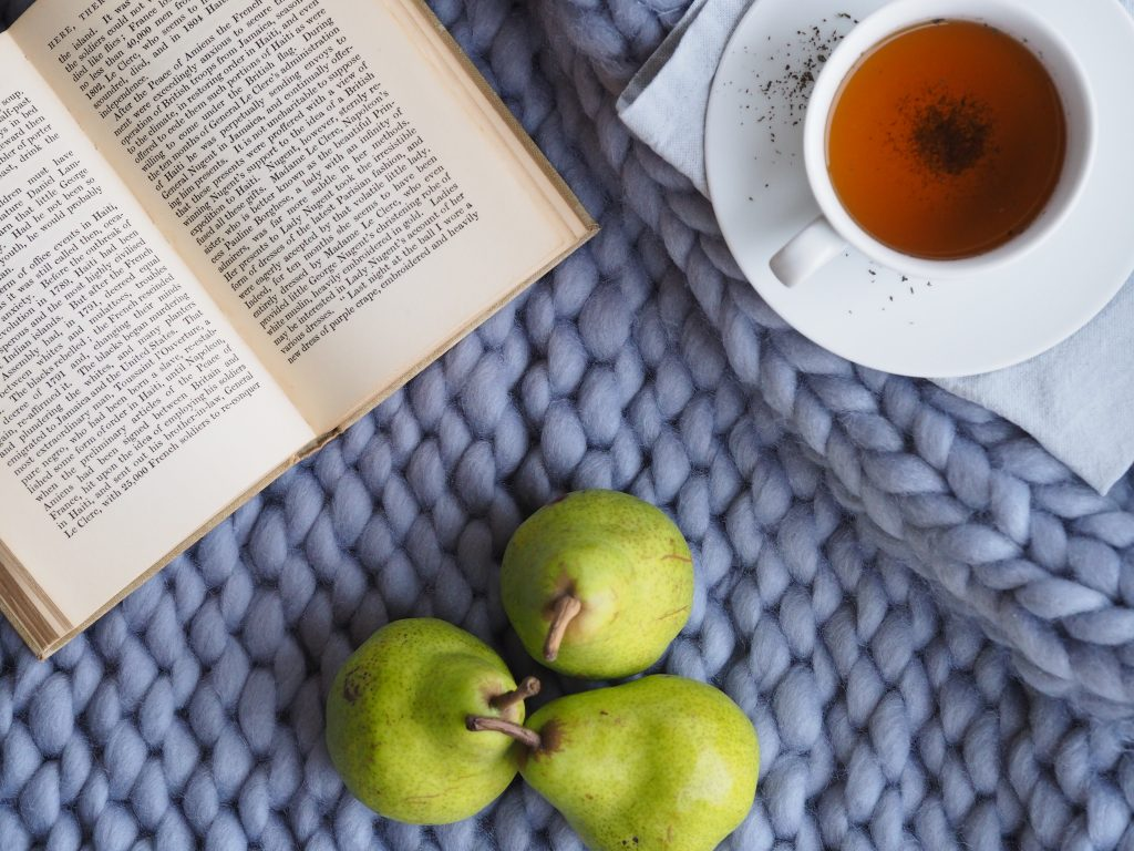 self care activities - tea, reading and healthy eating